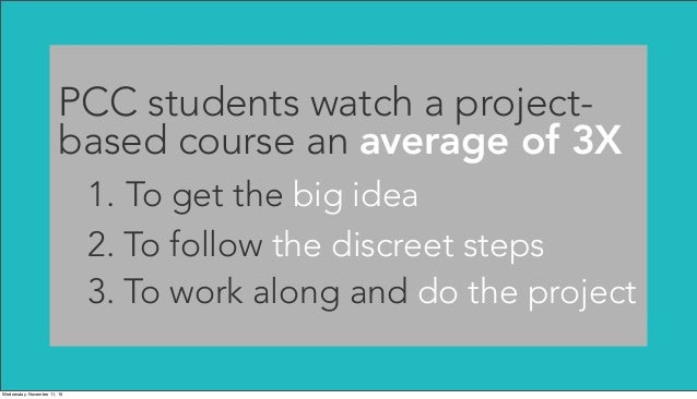 PCC students watch a project- based course an average of 3X 1. To get the big idea 2. To follow the discreet steps 3. To w...