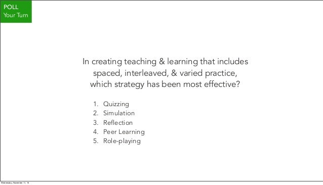 In creating teaching & learning that includes spaced, interleaved, & varied practice, which strategy has been most effecti...