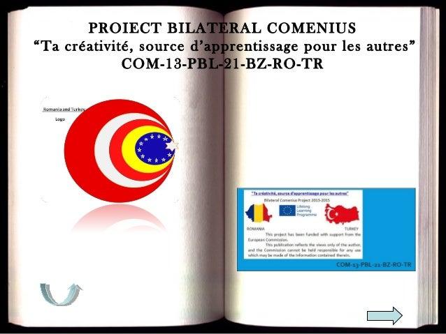 """PROIECT BILATERAL COMENIUS """"Ta créativité, source d'apprentissage pour les autres"""" COM-13-PBL-21-BZ-RO-TR"""