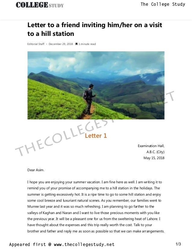 9 Letter To A Friend Inviting Him Her On A Visit To A Hill Station