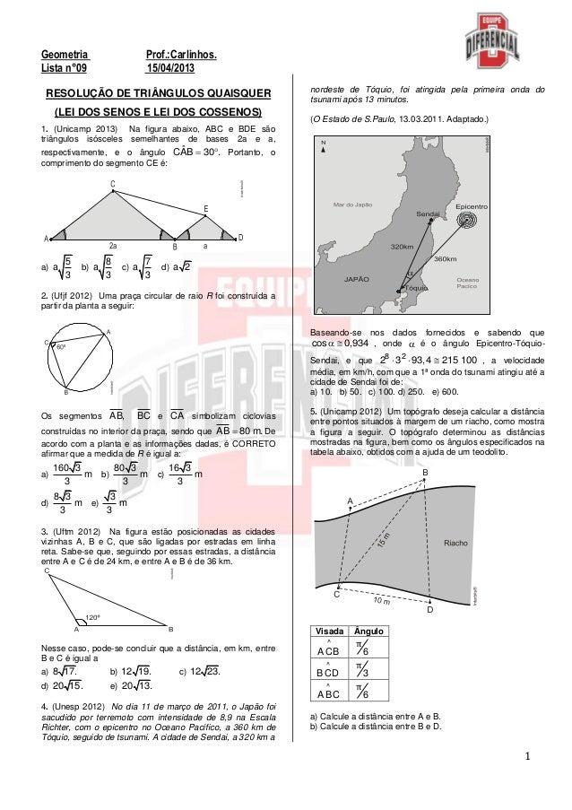1Geometria Prof.:Carlinhos.Lista n°09 15/04/2013RESOLUÇÃO DE TRIÂNGULOS QUAISQUER(LEI DOS SENOS E LEI DOS COSSENOS)1. (Uni...