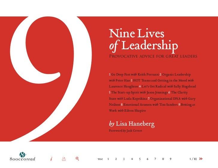 9i      x   +   toc   1                          Nine Lives                          of Leadership                       ...