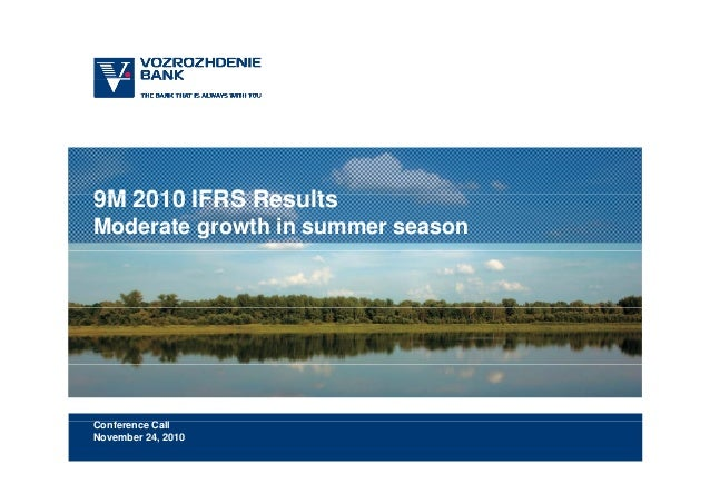 9M 2010 IFRS R lt9M 2010 IFRS Results Moderate growth in summer season C f C llConference Call November 24, 2010
