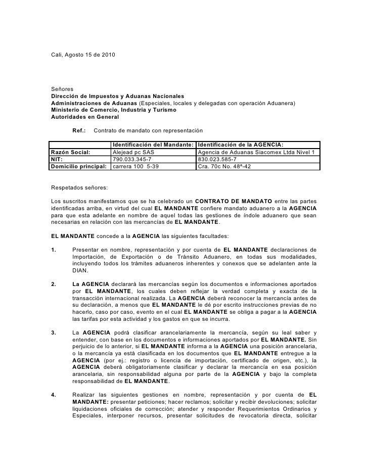 Cali, Agosto 15 de 2010SeñoresDirección de Impuestos y Aduanas NacionalesAdministraciones de Aduanas (Especiales, locales ...