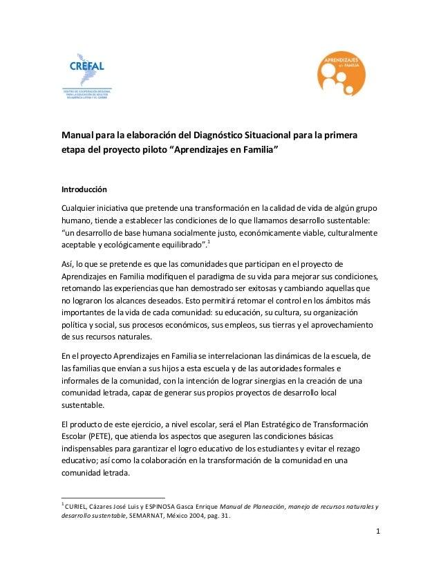 """Manual para la elaboración del Diagnóstico Situacional para la primera etapa del proyecto piloto """"Aprendizajes en Familia""""..."""