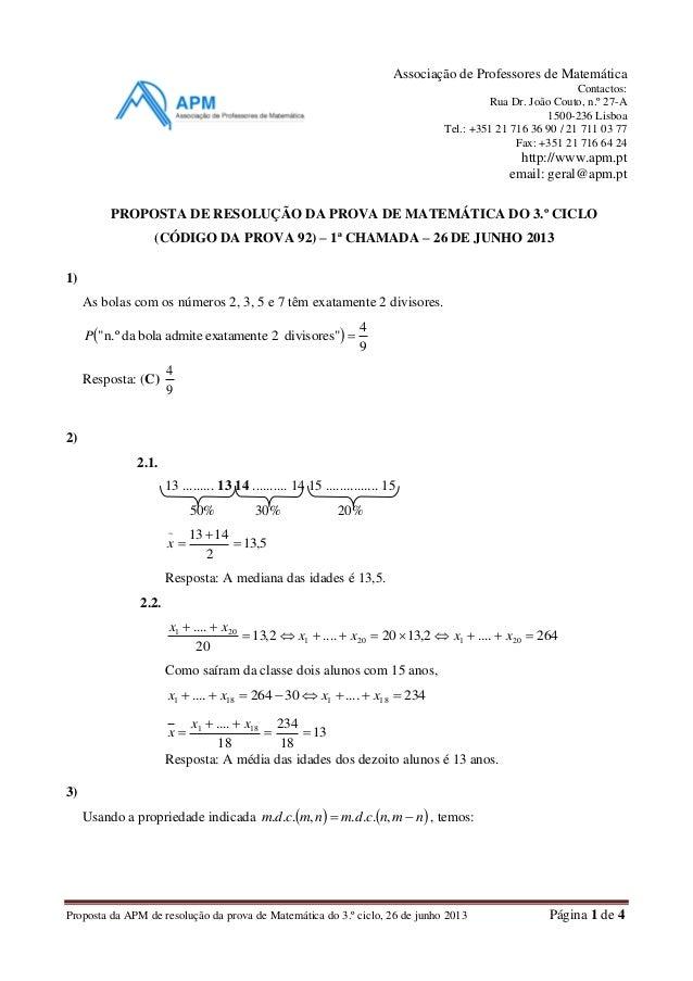 Proposta da APM de resolução da prova de Matemática do 3.º ciclo, 26 de junho 2013 Página 1 de 4 Associação de Professores...