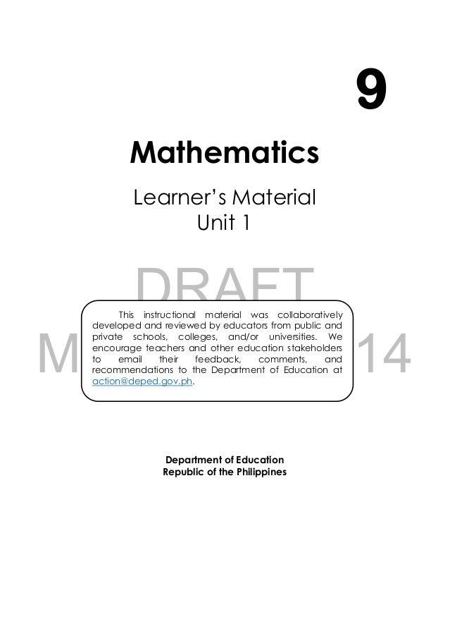 Grade 9 Learning Module in Math - Module 1 and 2 Slide 2