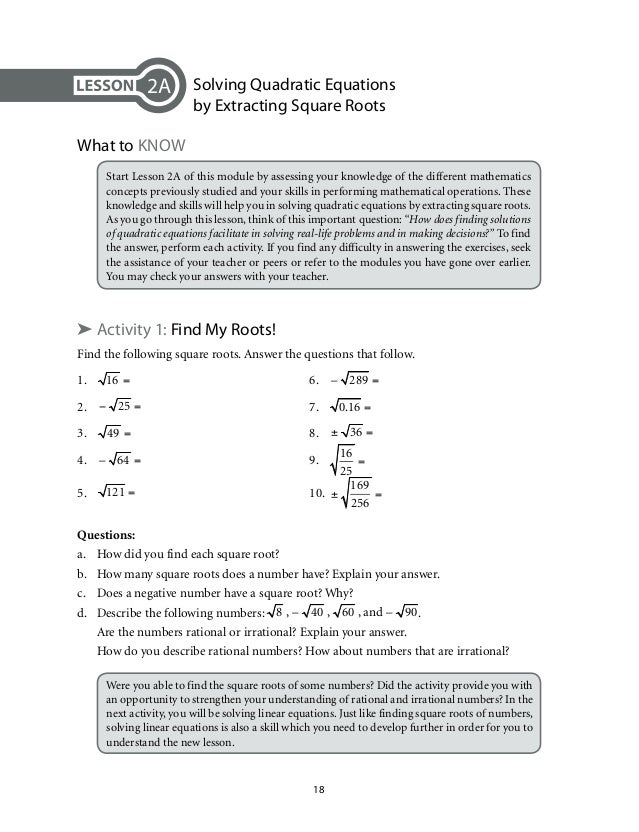 lesson 9-7 problem solving squares and square roots