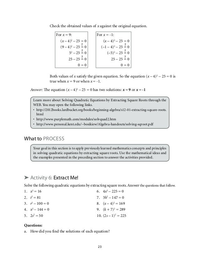 Grade 9: Mathematics Unit 1 Quadratic Equations and