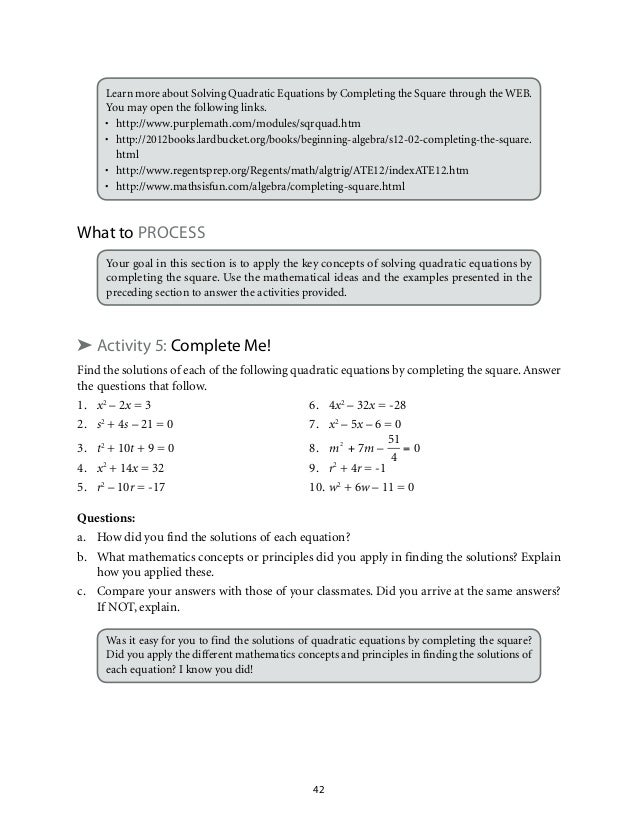 grade 9 mathematics unit 1 quadratic equations and inequalities rh slideshare net 127 Functions Linear Equations and Inequalities Multi-Step Equations Test
