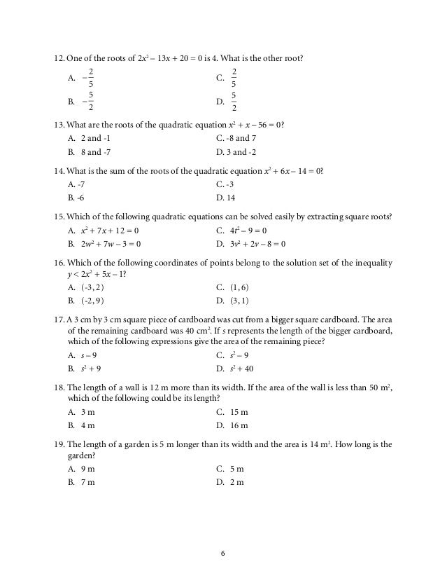 Grade 9 Mathematics Unit 1 Quadratic Equations and Inequalities – The Quadratic Formula and the Discriminant Worksheet