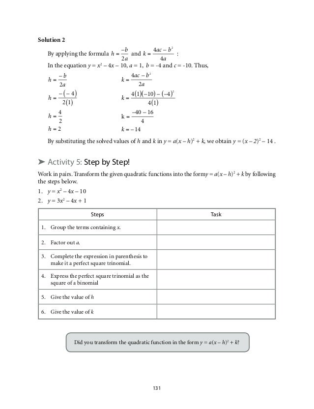 Grade 9: Mathematics Unit 2 Quadratic Functions.