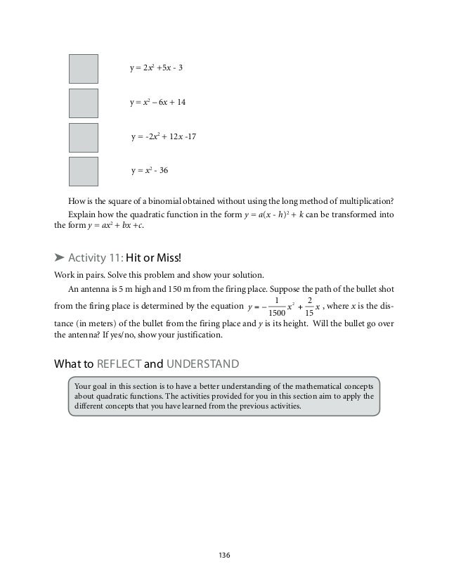Grade 9 Mathematics Unit 2 Quadratic Functions – Quadratic Applications Worksheet