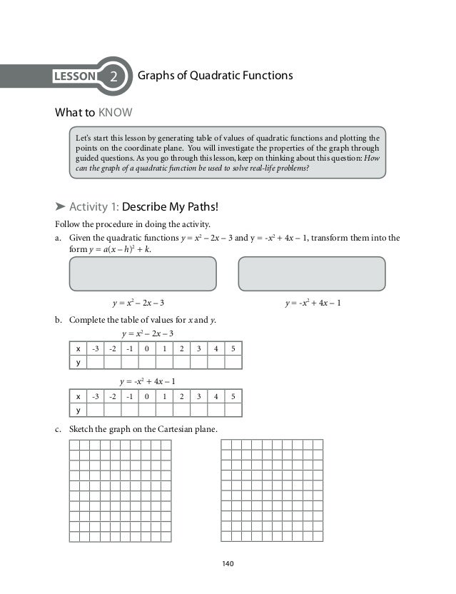 Grade 9 Mathematics Unit 2 Quadratic Functions – Quadratic Function Word Problems Worksheet