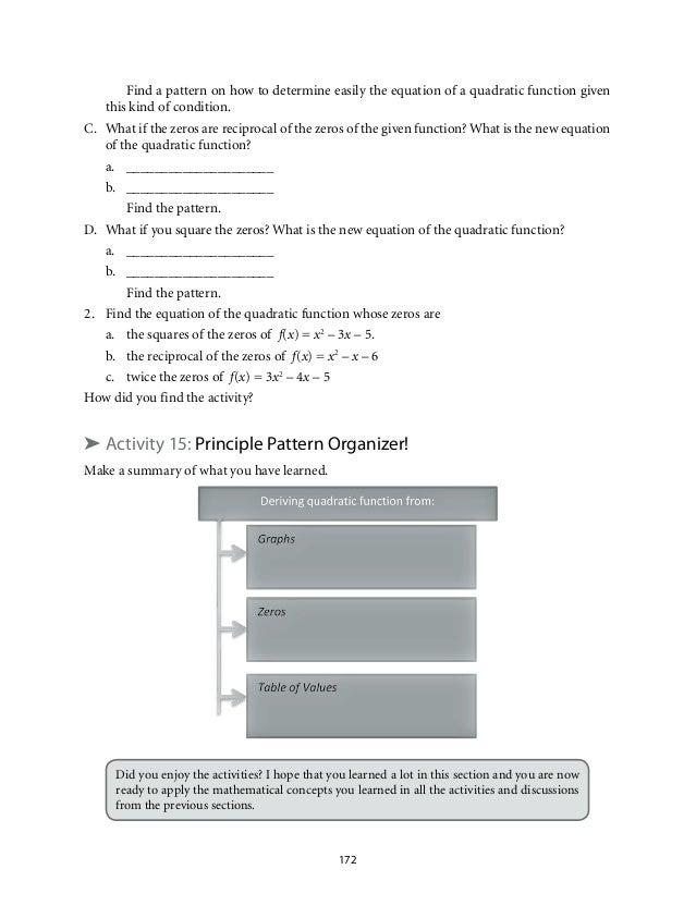 Grade 9: Mathematics Unit 2 Quadratic Functions