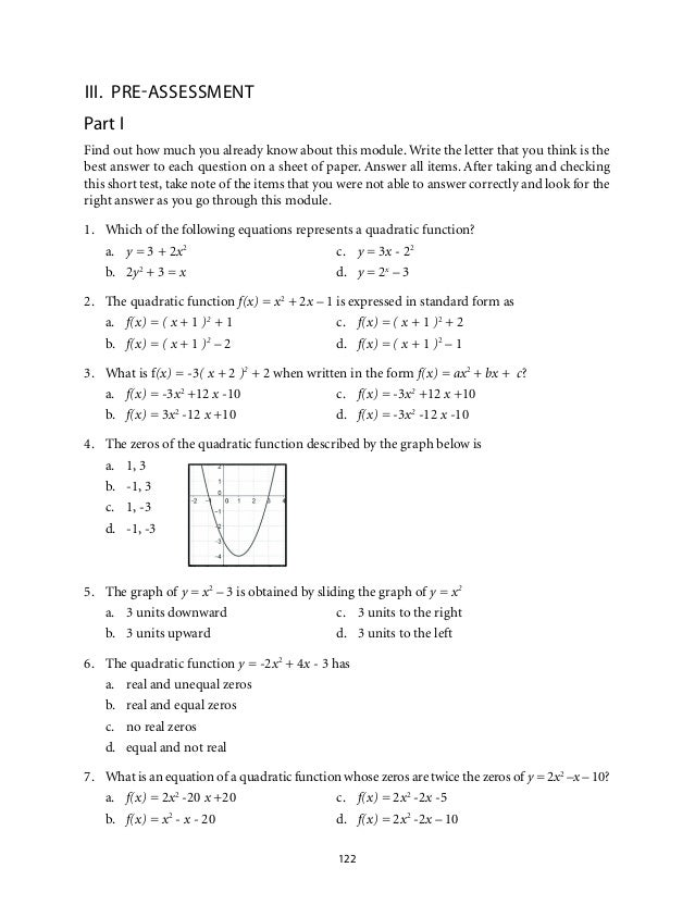 Grade 9 Mathematics Unit 2 Quadratic Functions – Quadratic Functions Worksheet