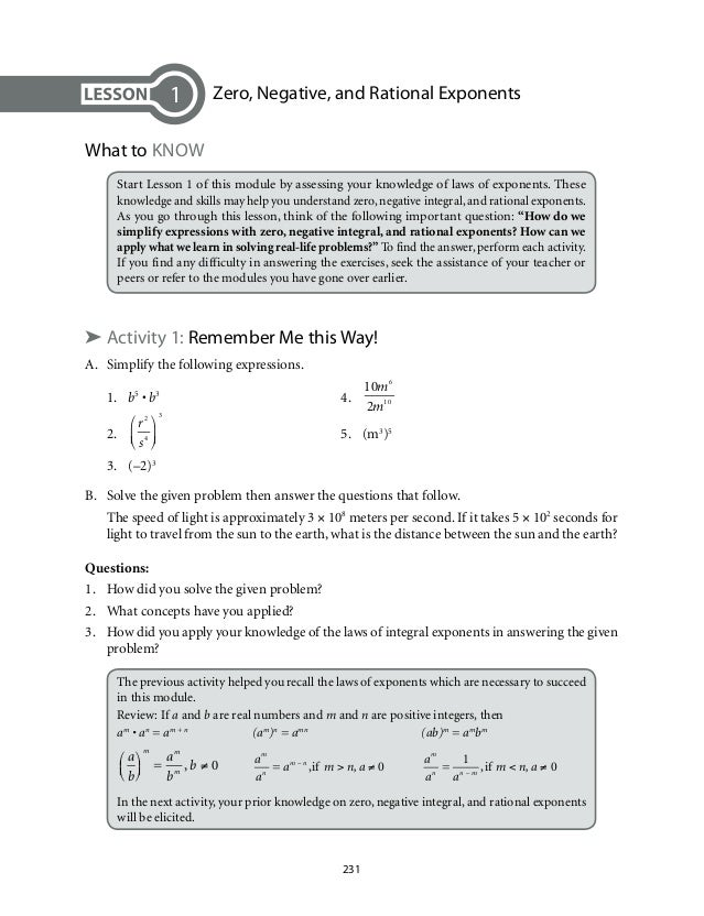Grade 9 Mathematics Unit 4Zero Exponents Negative Integral Exponent – Negative Exponent Worksheet