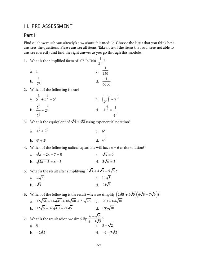 worksheets on simplifying radicals