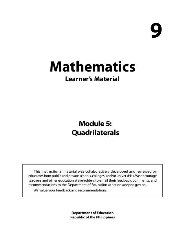Grade 9 Mathematics Module 5 Quadrilaterals (LM)