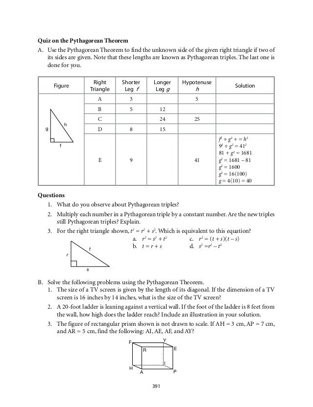 Grade 9 Mathematics Module 6 Similarity – Similarity in Right Triangles Worksheet