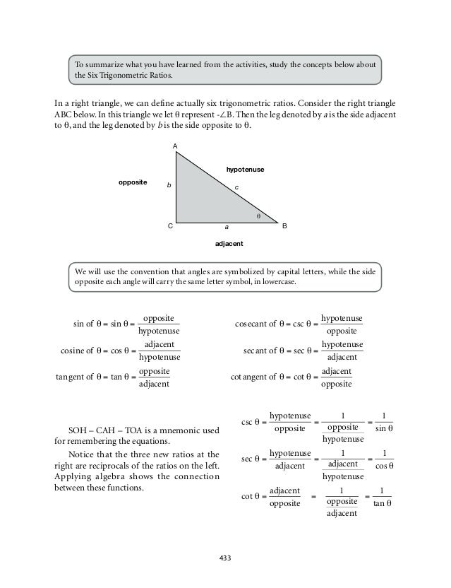 Grade 9 Mathematics Module 7 Triangle Trigonometry – Math Worksheets Trigonometry