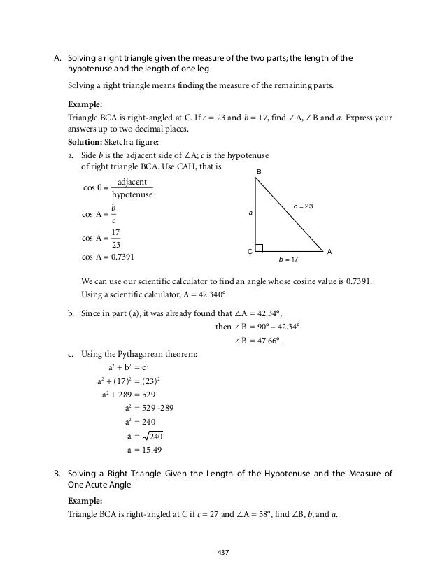 Grade 9 Mathematics Module 7 Triangle Trigonometry – Geometry Special Right Triangles Worksheet