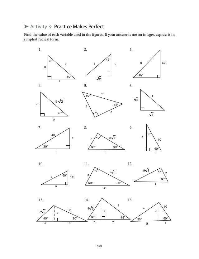 Printables 30-60-90 Triangle Worksheet special right triangles 30 60 90 worksheet answers davezan worksheets davezan