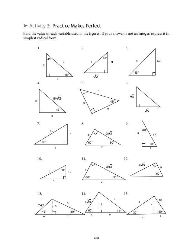 Special Right Triangles Worksheet 2 fallcreekonlineorg – Triangles Worksheet