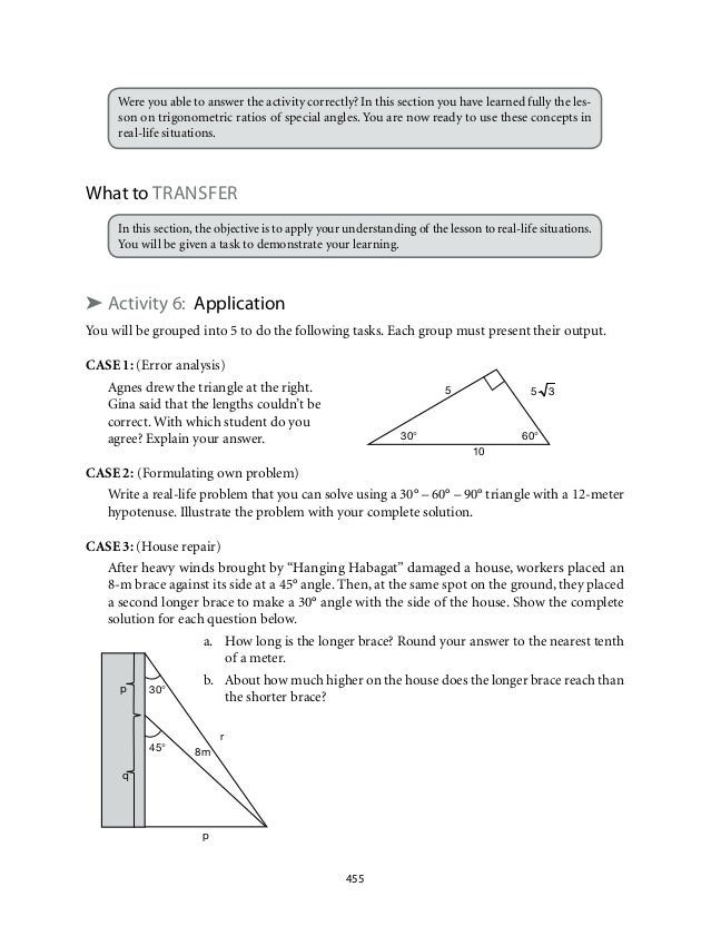 Grade 9 Mathematics Module 7 Triangle Trigonometry – Right Triangle Trigonometry Word Problems Worksheet
