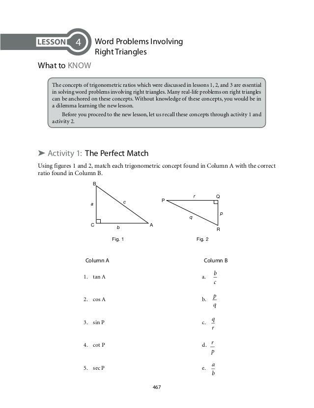 Printables Right Triangle Word Problems Worksheet solving right triangles word problems worksheet versaldobip trig precommunity printables worksheets grade 9 mathematics module 7 triangle trigonometry