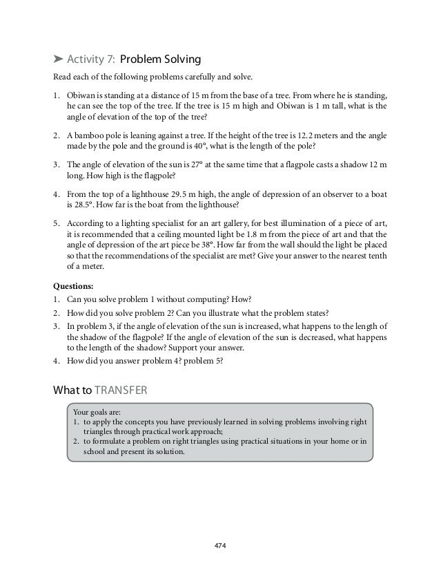 ➤ Activity 7: Problem Solving  Read each of the following problems carefully and solve.  1. Obiwan is standing at a distan...