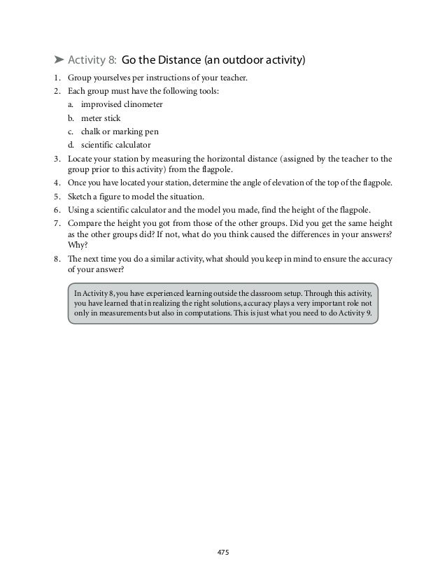 ➤ Activity 8: Go the Distance (an outdoor activity)  1. Group yourselves per instructions of your teacher.  2. Each group ...
