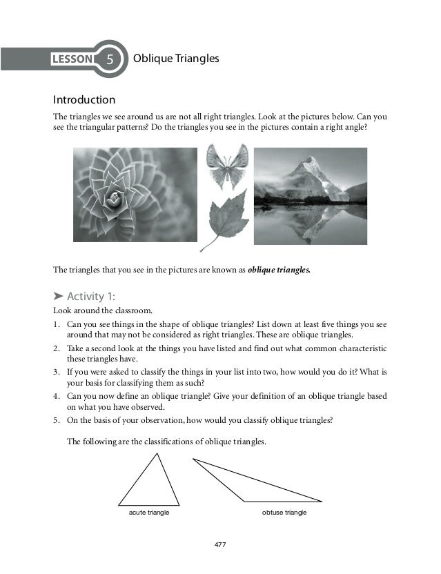 Oblique Triangles  Introduction  The triangles we see around us are not all right triangles. Look at the pictures below. C...