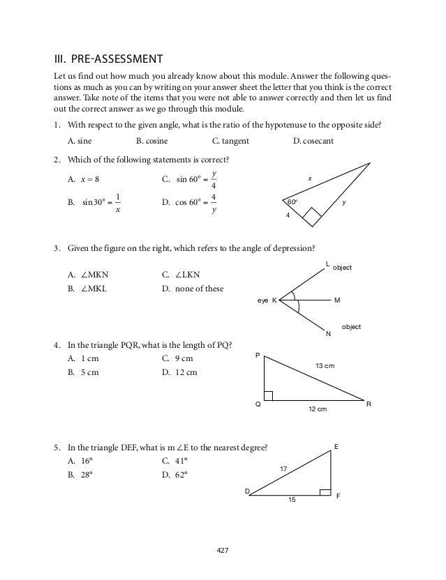 Grade 9 Mathematics Module 7 Triangle Trigonometry