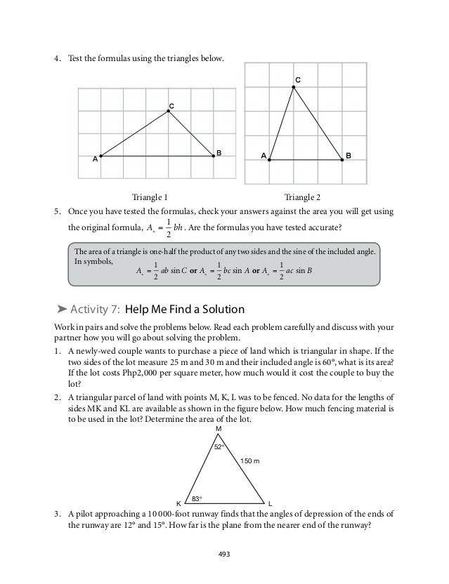 4. Test the formulas using the triangles below.  Triangle 1 Triangle 2  5. Once you have tested the formulas, check your a...