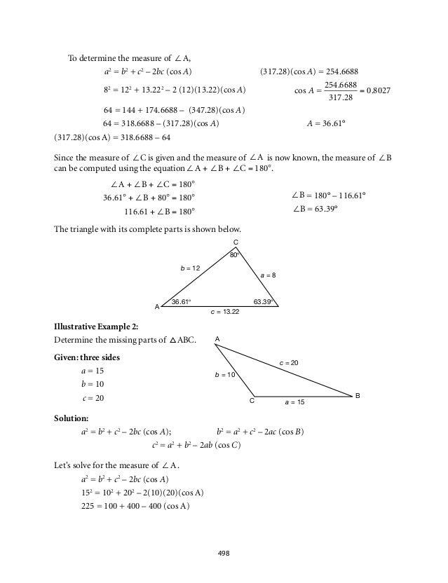 ∠A + ∠B + ∠C = 180°  36.61° + ∠B + 80° = 180°  116.61 + ∠B = 180°  A  C  80°  c = 13.22  b = 12  a = 8  36.61° 63.39°  A  ...