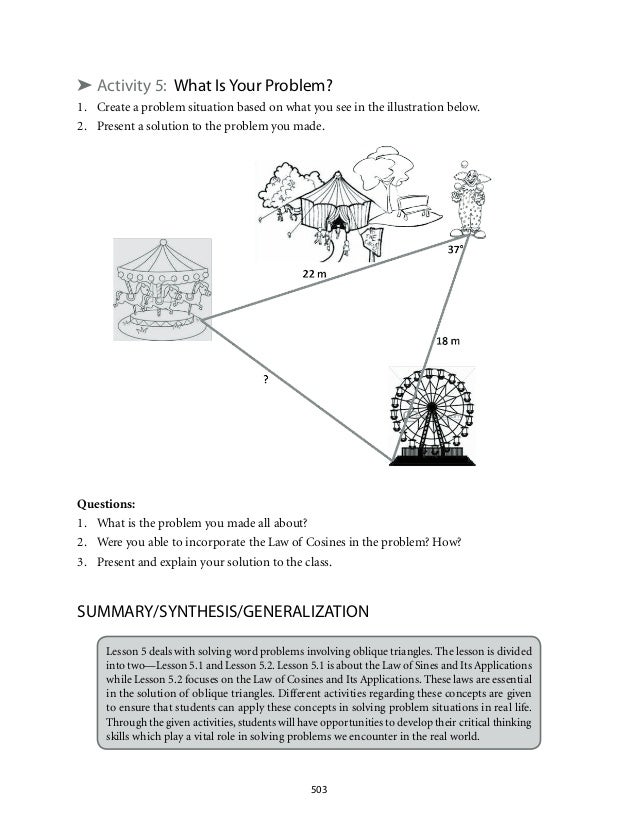 ➤ Activity 5: What Is Your Problem?  1. Create a problem situation based on what you see in the illustration below.  2. Pr...