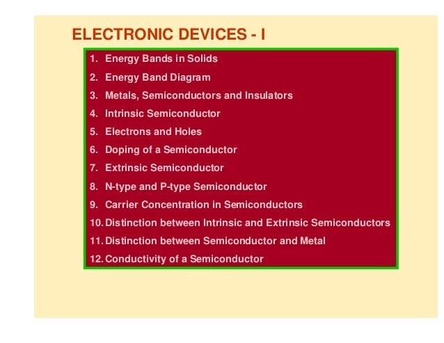 ELECTRONIC DEVICES - I  1. Energy Bands in Solids  2. Energy Band Diagram  3. Metals, Semiconductors and Insulators  4. In...