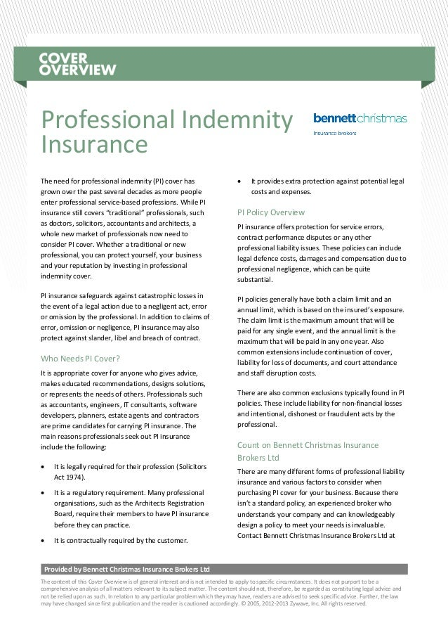 Cover overview - Professional Indemnity Insurance
