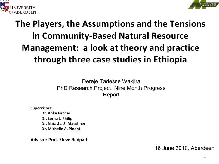 The Players, the Assumptions and the Tensions in Community-Based Natural Resource Management:  a look at theory and practi...