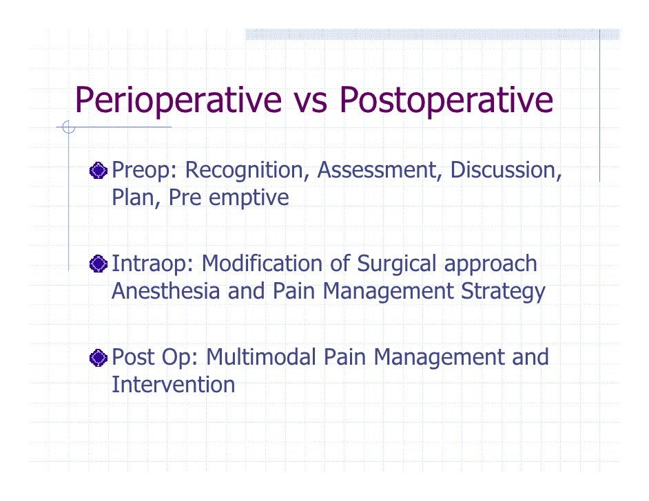 controlling operative and postoperative pain Controlling postoperative pain and nausea after total joint arthroplasty remains  an  pain control was also demonstrated following surgical correction of.