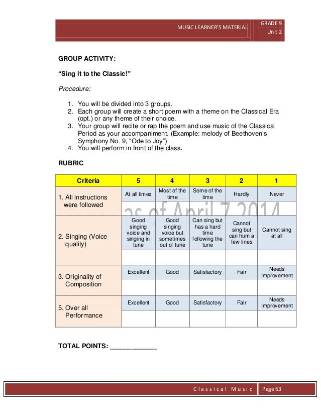 Grade 9 Module in Music