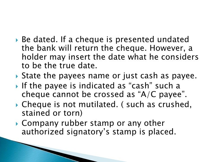 Post dating a cheque amounting