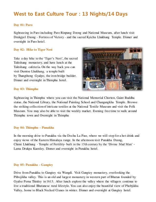 West to east bhutan tour