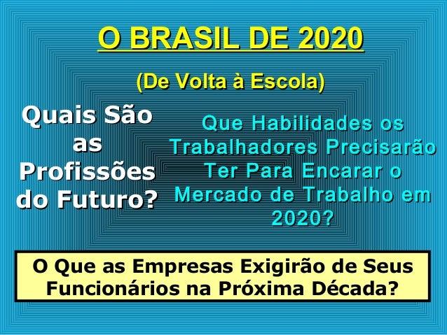 O BRASIL DE 2020O BRASIL DE 2020 (De Volta à Escola)(De Volta à Escola) Quais SãoQuais São asas ProfissõesProfissões do Fu...
