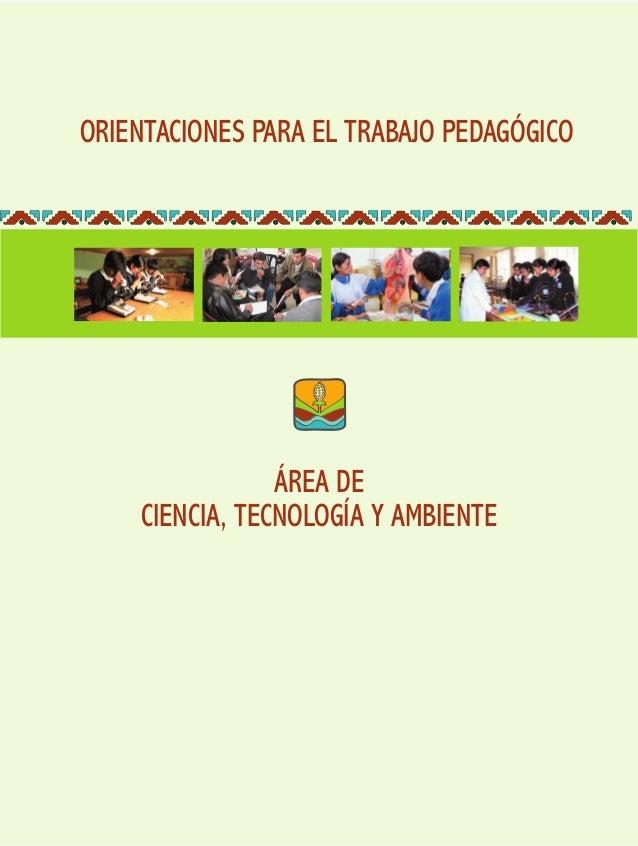 ORIENTACIONES PARA EL TRABAJO PEDAGÓGICO ÁREA DE CIENCIA, TECNOLOGÍA Y AMBIENTE
