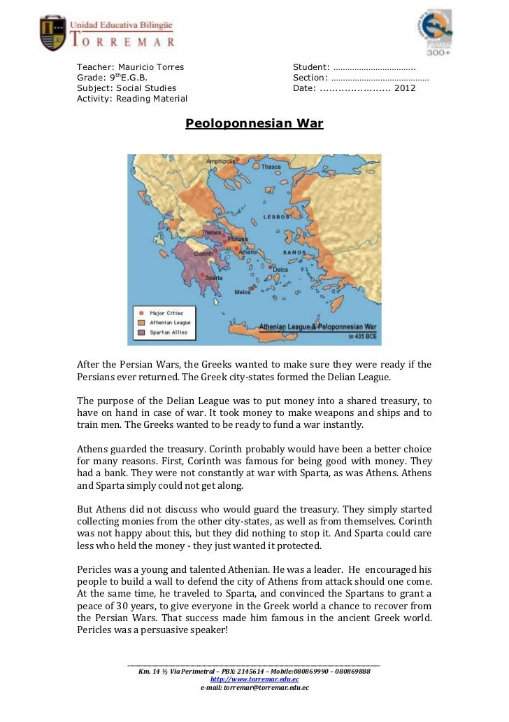 persian wars and the peloponnesian war The cause that led to the beginning of the peloponnesian war essay  at the  end of the persian wars, athens materialized along with sparta as the two.