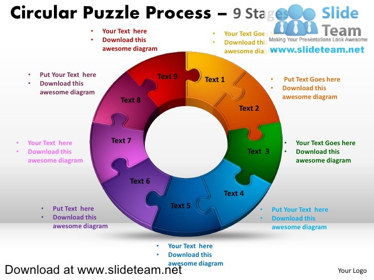 9 pieces pie chart circular puzzle with hole in center process powerp circular puzzle process 9 stages your text here ccuart Gallery