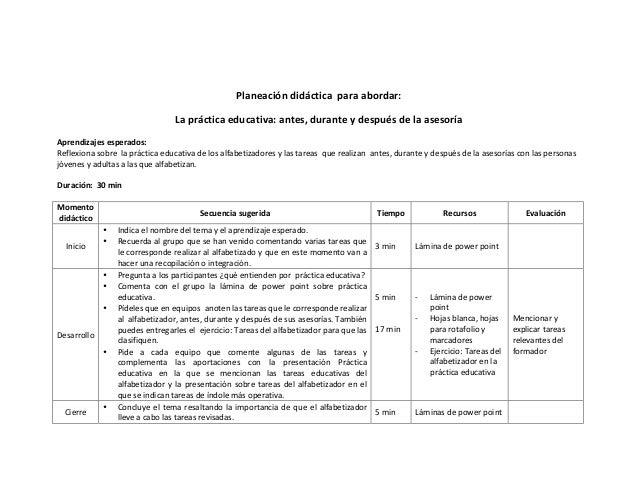 Planeación  didáctica    para  abordar:   La  práctica  educativa:  antes,  durante  y  después  ...