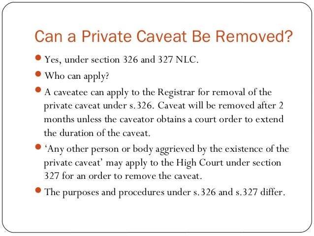 how to get a caveat removed